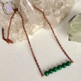 Malachite Copper Healing Bar Necklace